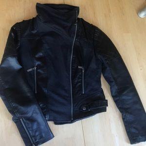 Zippered High Neck Biker Jacket